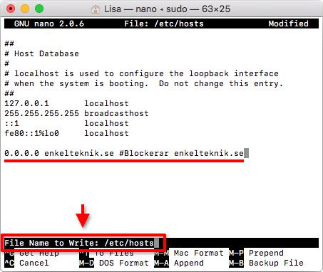 Mac OS - Ändra HOSTS-filen - Spara ändringar