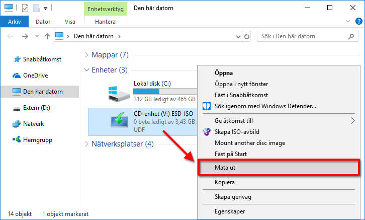 Mata ut monterad skiva - WinCDEmu - Windows 10