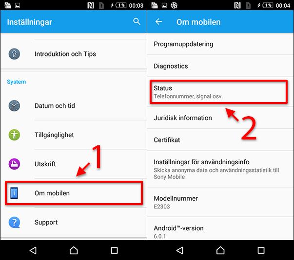 Se IMEI-nummer på Android-telefon - Sony - Samsung - Huawei