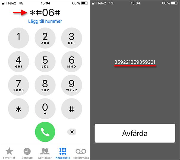 Se IMEI-nummer på telefonen - iPhone - Android - 06