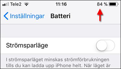 Batteri - Procent - Ikon visas - iPhone och iPad