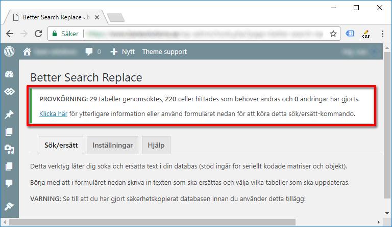 Better Search Replace - Testkörning - Ändra i databasen - WordPress - SSL