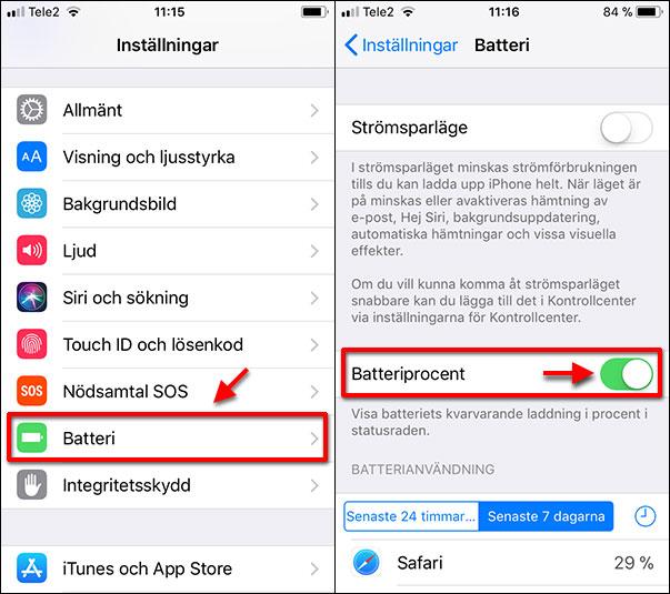 iPhone - Batteri - Procent - Visa - Ikon