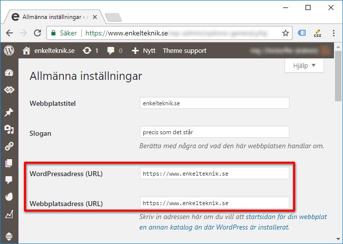 WordPress - Inställningar - Allmänt - https - Ändra