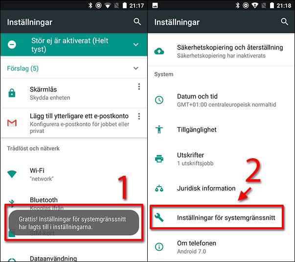 Android - Inställningar för systemgränssnitt - Lagts till