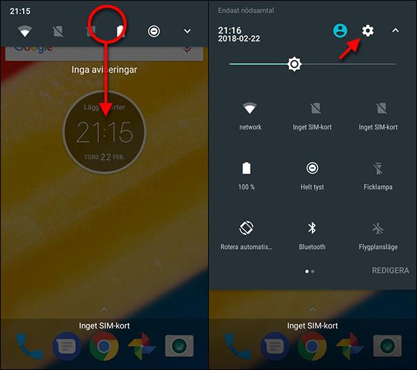 Android - Snabbmeny - Inställningar - Batteri-procent