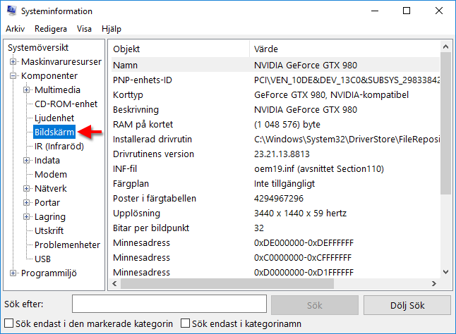 Windows 10 - Systeminformation - Bildskärm - Grafikkort