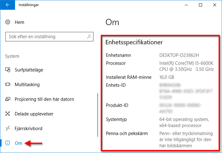 Windows - System - Enhetsspecifikationer
