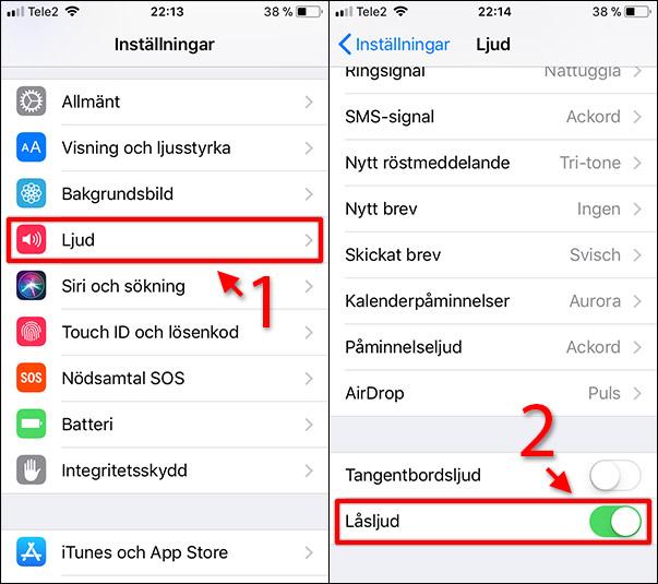 iPhone - iPad - Stäng av låsljud - Skärm - Ljud