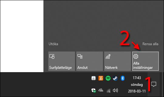Windows 10 - Åtgärdscenter - Alla inställningar - Notiser