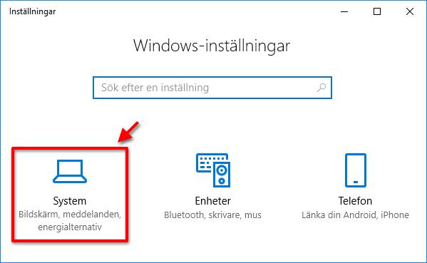 Windows - Inställningar - System - Notiser