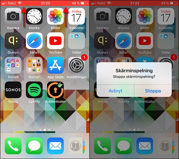 iPhone - Spela in skärmen - Stoppa inspelning