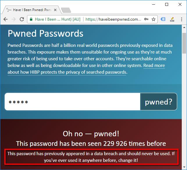 Se om lösenord läckt - Byt lösenord