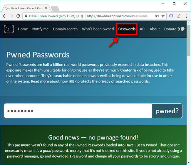 Se om mitt lösenord har hackats - Pwned