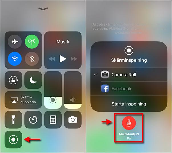 Spela in iPhone skärm - Med mikrofonljud