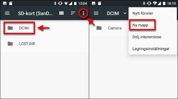 Android - Flytta filer till SD-kort - Ny mapp - DCIM - Camera