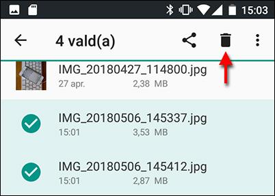 Android - Radera bilder från telefon - Micro SD-kort