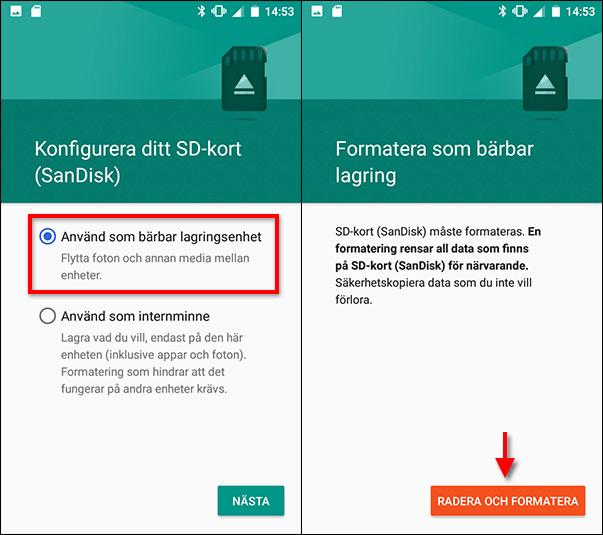 Använd som bärbar lagringsenhet - Minneskort - Android