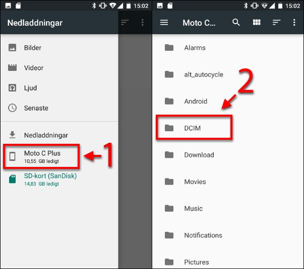 Internminne - Kopiera till SD-kort - DCIM