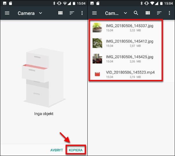 Kopiera filer till och från Micro SD-kort - Android