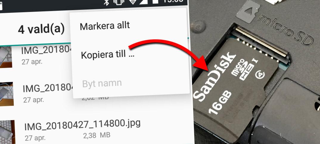 Kopiera och flytta bilder till minneskort - Android