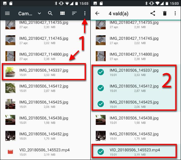 Välj de bilder - filmer som ska kopieras - Android - SD-kort