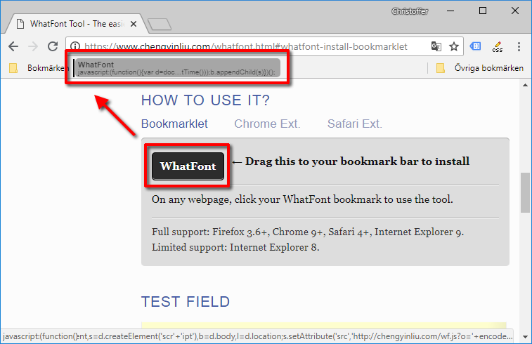 WhatFont - Lägg till bokmärke - Se typsnitt - Webbsida