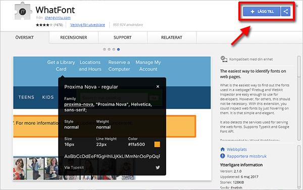 Whatfont - Lägg till Chrome - Se typsnitt