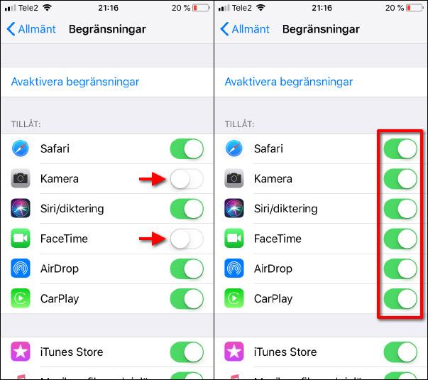 iPhone - iPad - Aktivera begränsningar - Kamera-app borta