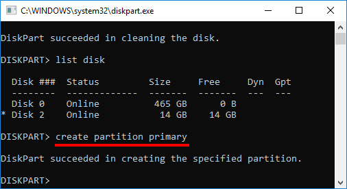 DiskPart - Create partition primary - Skapa ny partition