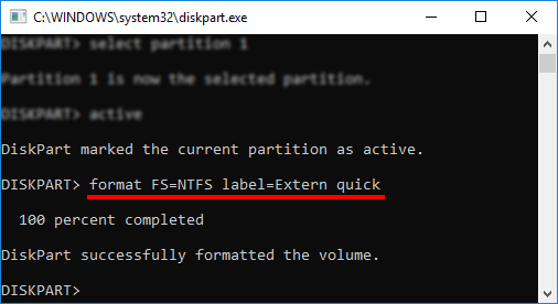 DiskPart - format FS=NTFS label quick