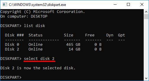 DiskPart - Select disk 1 - 2