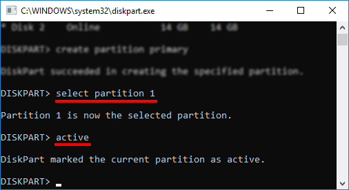 DiskPart - Select partition 1 - Active