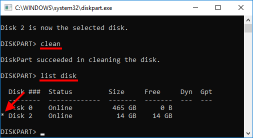 DiskPart - clean - list disk - Stjärna