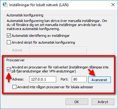 Använd en proxyserver - Avancerat - Blockera sajter