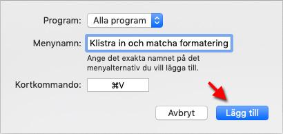 Klistra in och matcha formatering - Mac OS - CMD + V