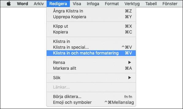 Klistra in och matcha formatering - Mac OS