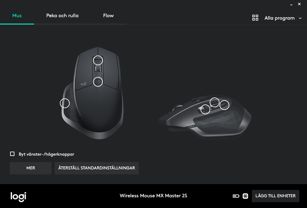 Logitech Options - MX Master 2S - Inställningar