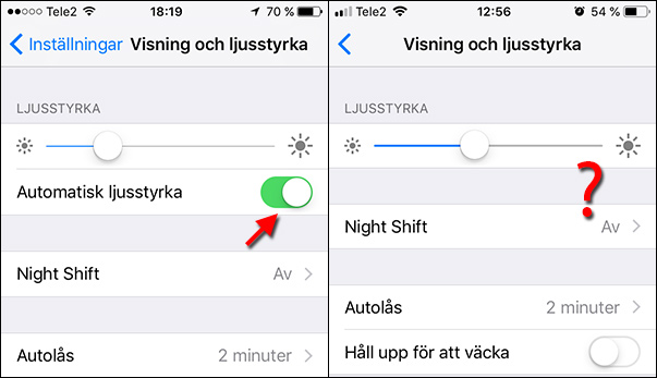 Automatisk ljusstyrka - iOS 12 - vs - Tidigare