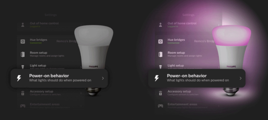 Philips Hue - Power-on behavior - Kommer ihåg