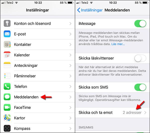 Inställningar - Meddelanden - Skicka och ta emot - E-post - SMS - iPhone