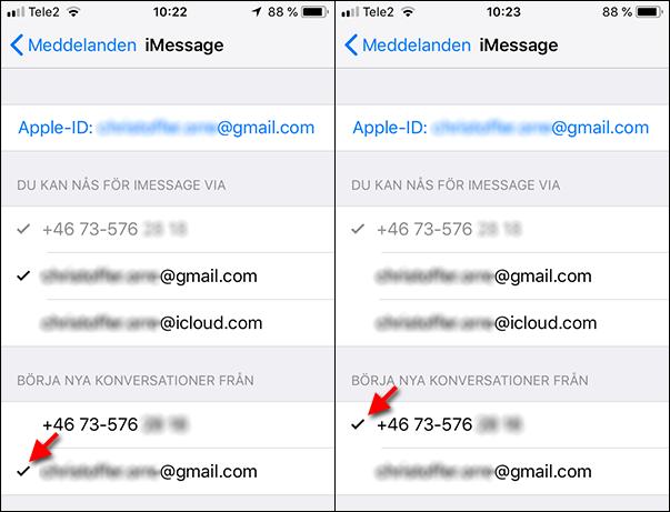 iPhone - Ändra e-post till telefonnummer - SMS - Meddelanden