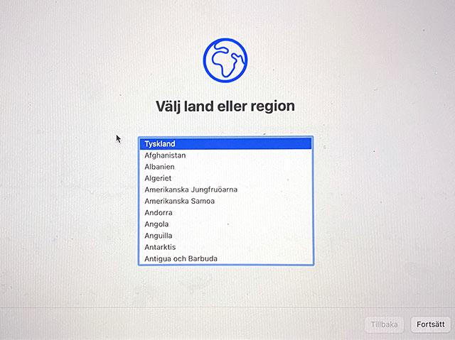 macOS - Installera om - Välj land eller region - Sälja