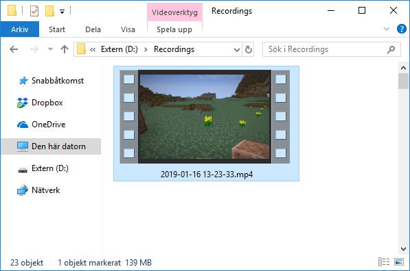 OBS - Inspelad video sparad i mapp