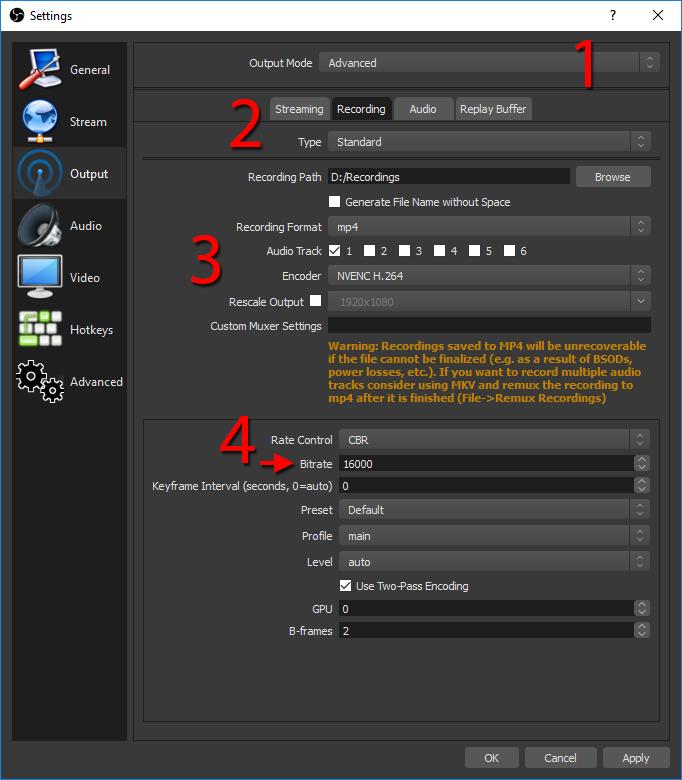 OBS - Inställningar - Kvalitet - Spara filer