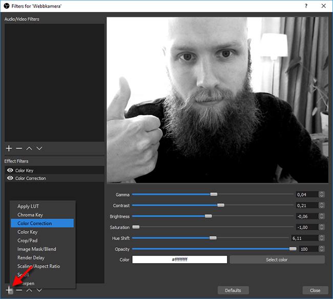OBS - Webbkamera - Webcam - Filter