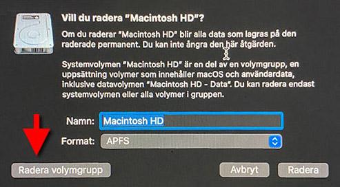 Radera volymgrupp - Macintosh HD