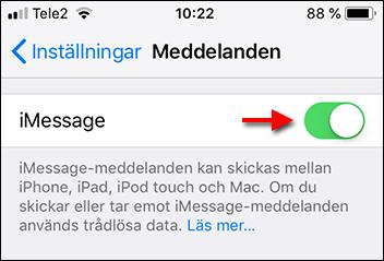 Stäng av iMessage - Aktivera telefonnummer