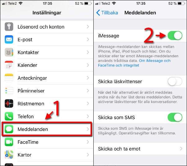 iPhone - iPad - Aktivera iMessage