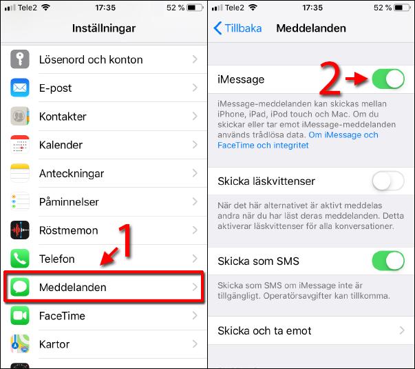 iPhone - iPad - Aktivera iMessage